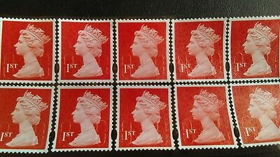 500 1st class unfranked stamps, used, off paper, on sheets, with gum