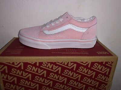 🎁New Girls pink canvas and Suede VANS trainers shoes BNIB UK 12.5 EU30.5