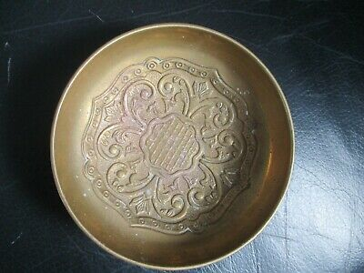 Heavy Antique Intricate Victorian Handmade Brass Bowl / Dish
