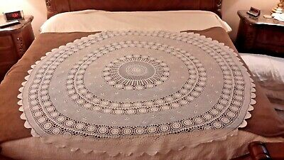 Hand Crochet Tablecloth Round 68 Inch Ivory