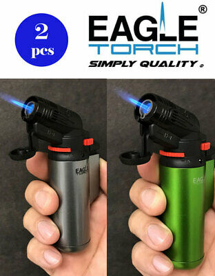 2 Pcs Eagle Jet Torch Gun Lighter Mighty Adjustable Flame Windproof Refillable
