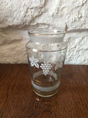Antique Victorian Small Etched Glass Vase with Grape Design