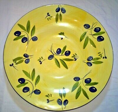 Antica Fornace Ceramiche Handpainted Serving Platter Yellow Black Olives 17.75""