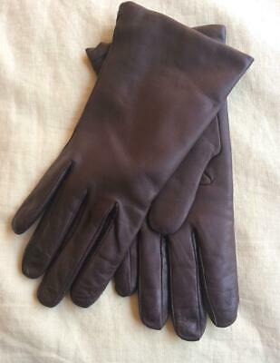SERMONETA  Brown Leather Gloves, Cashmere Lined...Size 7