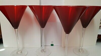 Set of 4 SIGNED LENOX Holiday Gems Ruby Red Martini Glasses - NIB - Excellent