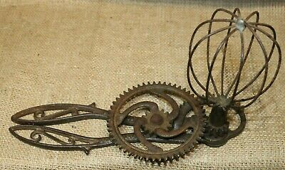 Antique Cast Iron Primitive Two-Handed Hand Mixer-Gem of Collection-Jaquette Bro