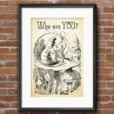 ALICE IN WONDERLAND CATERPILLAR Print Party Poster WHO ARE YOU Art Decor 171
