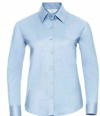 RUSSELL LADIES OXFORD BLOUSE LONG /& SHORT SLEEVED SMART OFFICE BUSINESS SHIRT