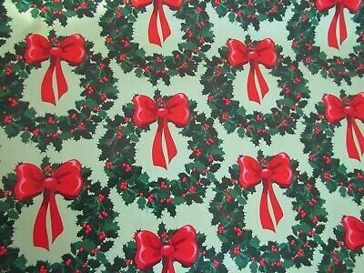 20 Feet Of Vintage Retro Christmas Wrapping Paper Wreaths