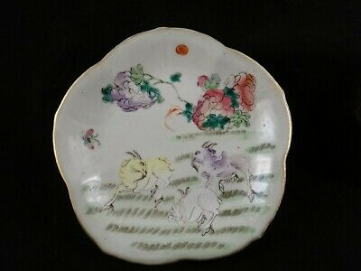 """Antique Chinese Porcelain Footed Dish, Qing dyn.19th c. 6 1/2"""", 1 3/8"""" t."""