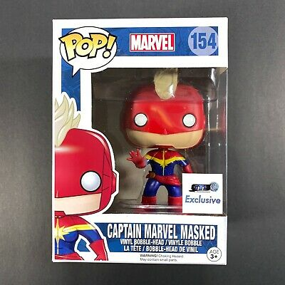 Funko Pop Captain Marvel Masked 154 Marvel Bobblehead GTS Exclusive Not Mint