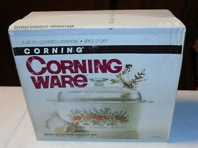 Pyrex Corning Ware SPICE O' OF LIFE 5 Quart A-5-8 Casserole Dish With Lid SEALED