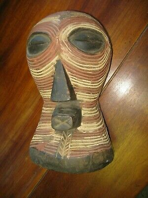 Antique Carved Wood African Tribal Mask Painted Songye  Democratic Rep of Congo
