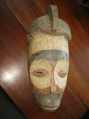 """Antique 16 1/4"""" Hand-Carved Wood African Tribal Mask Hand-Painted Zulu ? Congo ?"""