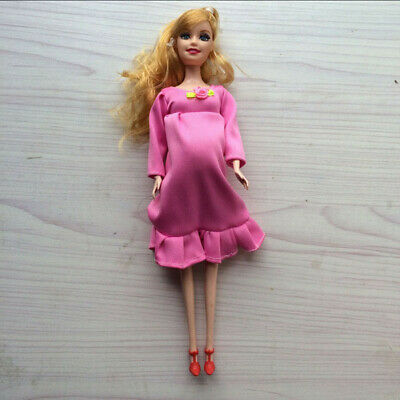 Pink Dress Real Pregnant Doll Suit Mom Doll Have A Baby In Her Tummy