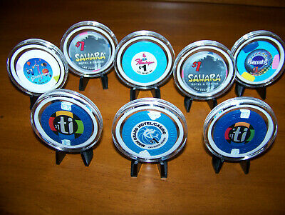 8 Las Vegas CASINO CHIPS with Plastic Covers and Small Stands for each Chip