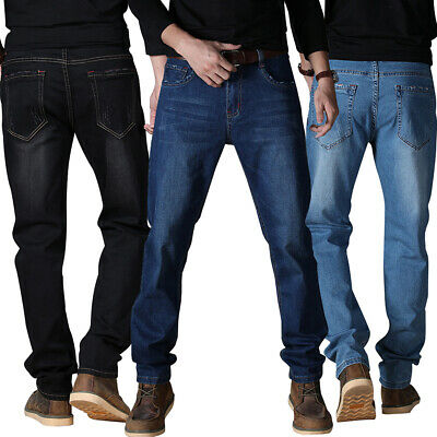 Mens Classic Bootcut Denim Jeans Straight Stretchy Elastic Trouser Business Pant