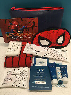 2 x SPIDER MAN Far from Home United Airlines Travel Amenity Kit Red Blue SEALED