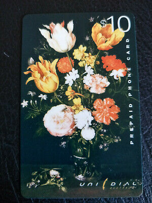 Used $10 Unidial Flowers Still Life Phonecard