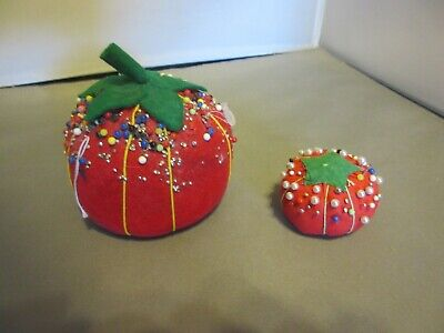 2 Vintage Sewing TOMATO PIN CUSHIONS Lots Glass head pins Made in Japan