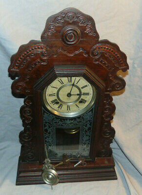 Antique Victorian Ansonia Wooden Kitchen Clock w. Keys & Pendulum