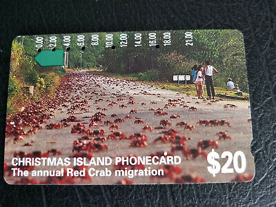 Used $20 Christmas Island Annual Crab Migration Phonecard Prefix 385