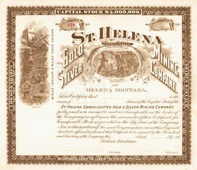St. Helena Consolidated Gold and Silver Mining Co - Stock Certificate