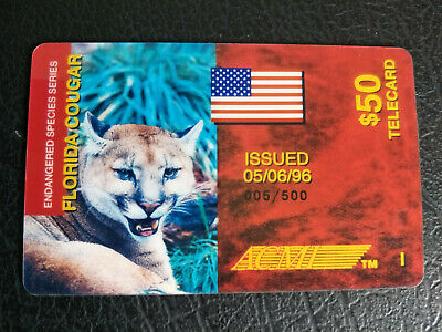 Used ACMI $50 Endangered Species Series Florida Cougar Phonecard 005 of 500