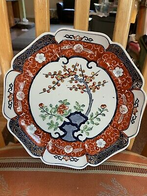 Japanese Ware Imari Plate Arita Blue Rust Red Gold Hand Painted Vintage Collect