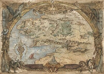 Middle Earth Map - Lord Of The Rings Print - Glossy Finish - A4 Unframed