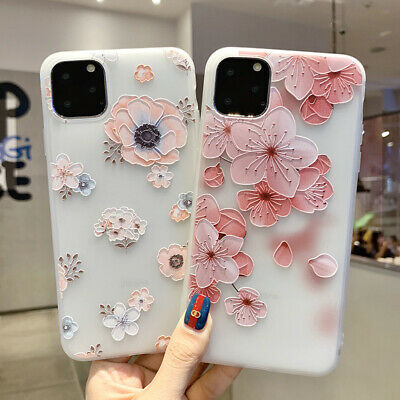 For iPhone 11 Pro Max XS XR 8 7 Plus 3D TPU Soft Peach Floral Relief Case Cover