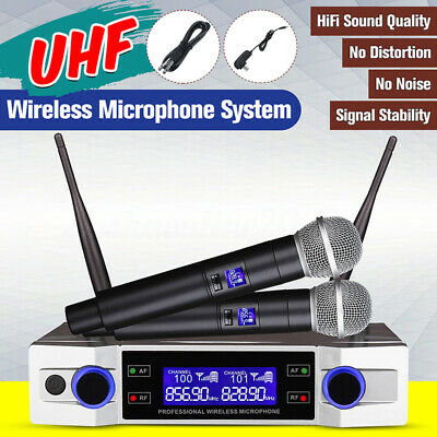 Coppia Microfoni Wireless Centralina Senza Filo Karaoke Dj UHF Locale Display