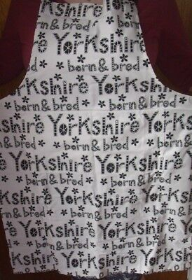 Black and White Born and Bred in Yorkshire Apron Unused