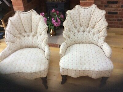 Pair of antique oyster shell backed nursing chairs