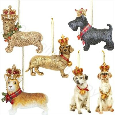 Gisela Graham Hanging Dogs With Crown Christmas Tree Ornaments Xmas Decorations