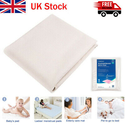 Absorbent Washable Incontinence Bed Sheet Pad Mattress Protection Beige and Blue