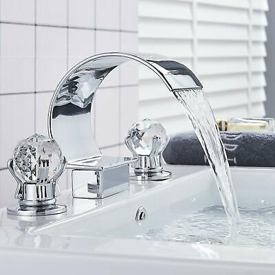 Modern Chrome Waterfall Bathroom Sink Faucet Brass Dual Crystal Handle Mixer Tap