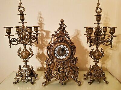 French Rococo Style Brass Mantel Clock Garniture by Franz Hermle.