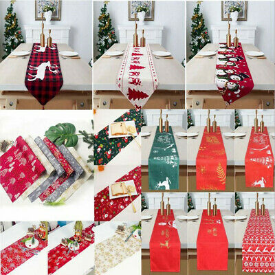 Christmas Santa Snowflake Table Runner Tablecloth Placemat Party Dinner Decor