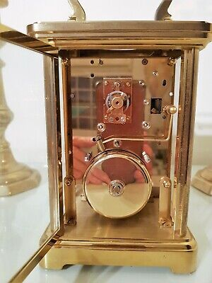 Large Gilt Brass Striking Carriage Clock.