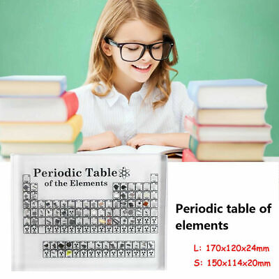 Periodic Table Display with Elements Acrylic Student Teacher Desk Ornament Cool