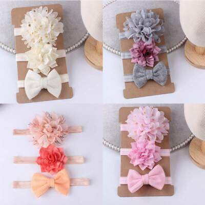 3Pcs/set Fashion Elastic Baby Headdress Hair Band Girls Bow Newborn Headband SW