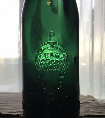 Green Glass PGW Perth Glass Works Beer Bottle. Hand Blown Crown Seal Crude