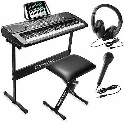 Hamzer 61-Key Portable Electronic Keyboard Piano With Stand, Stool, Headphones,