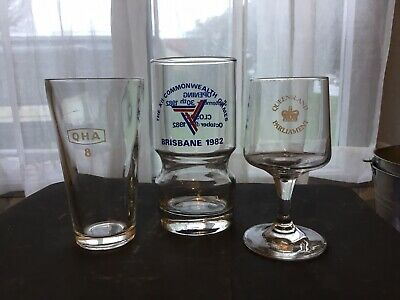 3 Collectable Glasses Queensland Parliament Commonweath Games 1982 Excise