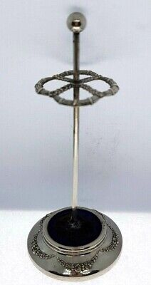 Antique Edwardian Chased Floral Silver Plated Ball Top Hat Pin Stand