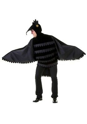 ADULT BLACK FEATHER BIRD RAVEN CROW COSTUME SIZE XL (Used)