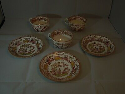 Victorian Chinese Garden Trio Vintage bone China tea cups and saucers