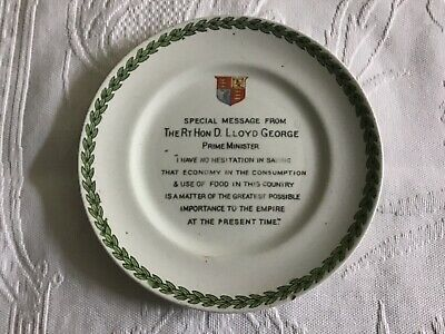 Antique Side Plate - Message from The Rt Hon D. Lloyd George dated 1917
