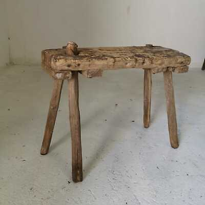 Antique Shabby Rustic Hand-Carved Wooden Milking Stool or Small Table